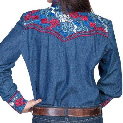 画像2: スカリー 刺繍 ウエスタン シャツ(長袖/デニム・フローラルマルチカラー)/Scully Long Sleeve Western Shirt(Women's)