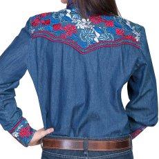 画像2: スカリー 刺繍 ウエスタン シャツ(長袖/デニム・フローラルマルチカラー)/Scully Long Sleeve Western Shirt(Women's) (2)