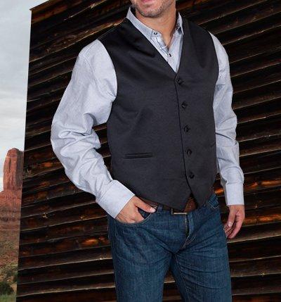 画像2: スカリー オールドウエスト ベスト(ソリッドブラック)/Scully Old West Vest (Solid Black)