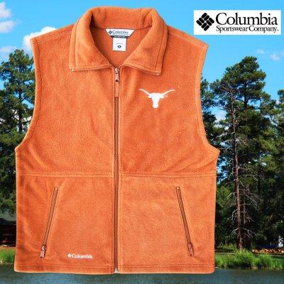 画像1: コロンビア スポーツウェア テキサスロングホーンズ フリース ベスト(ロングホーンズオレンジ)/Columbia Sportswear Texas Longhorns Fleece Vest(Cedar)