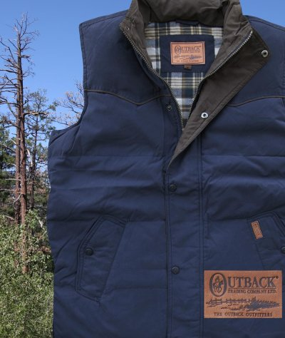 画像1: アウトバック トレーディング カウボーイ ダウン ベスト(ネイビー)/Outback Trading Down Vest(Navy)