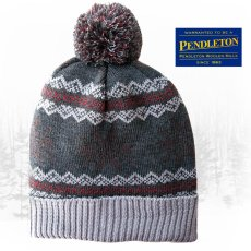画像1: ペンドルトン ニット帽 ニットキャップ(スノー・チャコール)/Pendleton Cap With Pom Pom(Charcoal Fair Isle) (1)