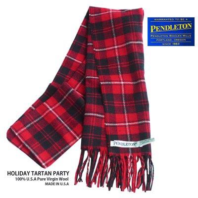 画像1: ペンドルトン ピュアバージンウール マフラー(レッド・ブラック・ホワイト)/Pendleton Pure Virgin Wool Muffler(HOLIDAY TARTAN PARTY)