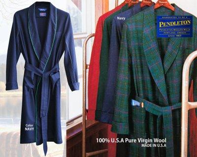 画像3: ペンドルトン ピュアーバージン ウール ローブ・ガウン(ネイビー)S/Pendleton Washable Whisper Wool Robe(Navy)