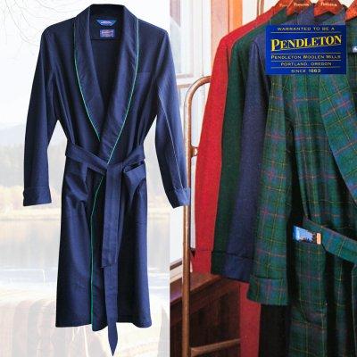 画像1: ペンドルトン ピュアーバージン ウール ローブ・ガウン(ネイビー)S/Pendleton Washable Whisper Wool Robe(Navy)