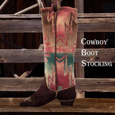 画像1: カウボーイ ブーツ ストッキング(インテリア)/Cowboy Boot Stocking