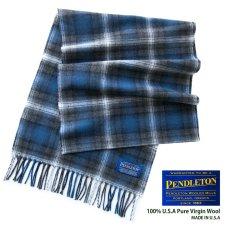 画像1: ペンドルトン ピュアバージンウール マフラー(ブルー・グレー)/Pendleton Whisperwool Muffler(Blue/Gray) (1)