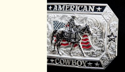 画像2: モンタナシルバースミス アメリカン カウボーイ フラッグ・ホースライディング ベルト バックル/Montana Silversmiths American Cowboy Flag Belt Buckle