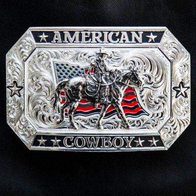 画像1: モンタナシルバースミス アメリカン カウボーイ フラッグ・ホースライディング ベルト バックル/Montana Silversmiths American Cowboy Flag Belt Buckle