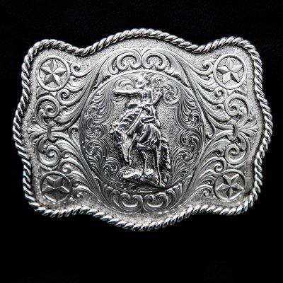 画像1: モンタナシルバースミス ウエスタン ベルト バックル サドル ブロンコ/Montana Silversmiths Western Belt Buckle Saddle Bronc