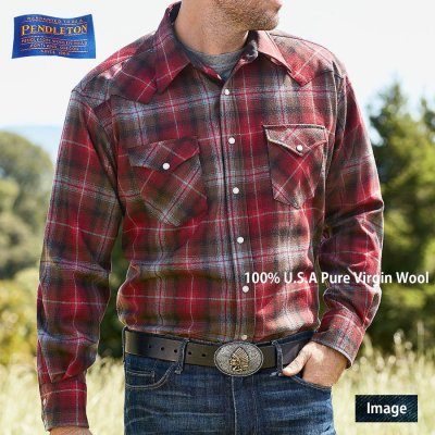 画像3: ペンドルトン ウエスタンシャツ(レッド・ブラック・ベージュオンブレ)/Pendleton Western Shirt
