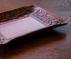 画像3: ウエスタン フィリグリー レザー アクセサリー トレイ(フローラルブラウン・ターコイズ)/Hand Carved Leather Catchall Tray(Brown/Turquoise) (3)