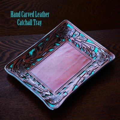 画像1: ウエスタン フィリグリー レザー アクセサリー トレイ(フローラルブラウン・ターコイズ)/Hand Carved Leather Catchall Tray(Brown/Turquoise)