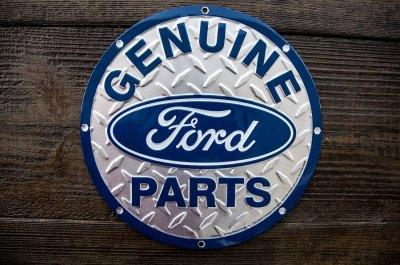 画像1: フォード モーターカンパニー メタルサイン(シルバー・ブルー)/Ford Motor Company Metal Sign GENUINE Ford PARTS