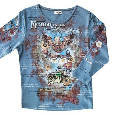 画像1: ラインストーン ウエスタン&ライダー Tシャツ(レディース)M/Women's Western T-shirt(Blue)