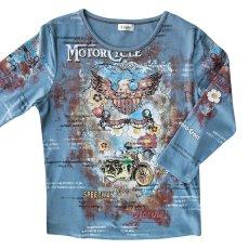 画像1: ラインストーン ウエスタン&ライダー Tシャツ(レディース)M/Women's Western T-shirt(Blue) (1)