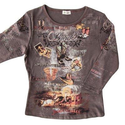 画像1: アメリカン カウガール ラインストーン ウエスタン Tシャツ(レディース)S/Women's Western T-shirt(Brown)