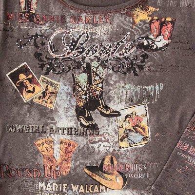 画像2: アメリカン カウガール ラインストーン ウエスタン Tシャツ(レディース)S/Women's Western T-shirt(Brown)