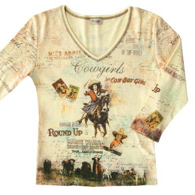 画像1: カウガール ラインストーン ウエスタン Tシャツ(レディース)S/Women's Western T-shirt(Yellow)