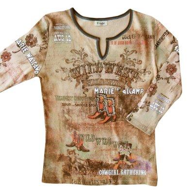 画像1: ワイルド ウエスト カウボーイブーツ ラインストーン ウエスタン Tシャツ(レディース)/Women's Western T-shirt(Khaki)
