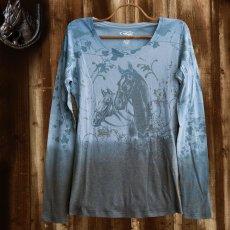 画像1: ローパー レディース ウエスタン Tシャツ ホース ブルー(長袖)/Roper Women's Western T-shirt(Blue) (1)