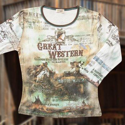 画像1: グレイト ウエスタン  レディース ウエスタン TシャツS/Women's Western T-shirt(Light Blue)