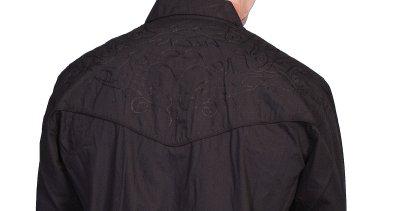 画像3: スカリー スナップフロント 刺繍 ウエスタン シャツ(長袖/ブラック・フロント&バック刺繍)/Scully Long Sleeve Embroidered Snap Front Shirt(Men's)