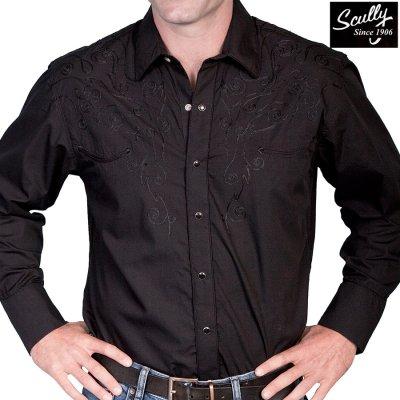 画像1: スカリー スナップフロント 刺繍 ウエスタン シャツ(長袖/ブラック・フロント&バック刺繍)/Scully Long Sleeve Embroidered Snap Front Shirt(Men's)