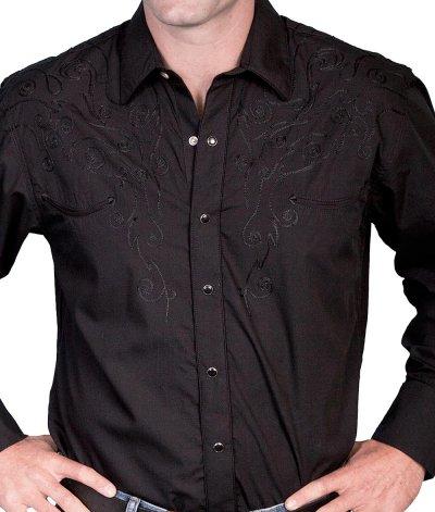 画像2: スカリー スナップフロント 刺繍 ウエスタン シャツ(長袖/ブラック・フロント&バック刺繍)/Scully Long Sleeve Embroidered Snap Front Shirt(Men's)