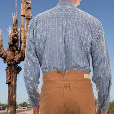 画像4: ワーメーカー バンドカラー アズテック オールドウエストシャツ(インディゴ)S/Wah Maker Band Collar Old West Shirt(Indigo) (4)