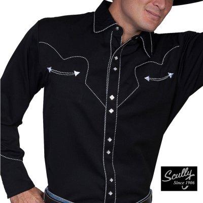 画像1: スカリー ウエスタン シャツ(長袖/ブラック・ホワイトキャンディケインパイピング)/Scully Long Sleeve Western Shirt(Men's)