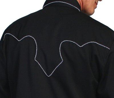画像2: スカリー ウエスタン シャツ(長袖/ブラック・ホワイトキャンディケインパイピング)/Scully Long Sleeve Western Shirt(Men's)