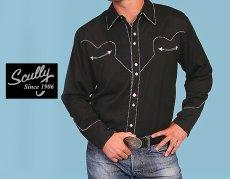 画像5: スカリー ウエスタン シャツ(長袖/ブラック・ホワイトキャンディケインパイピング)/Scully Long Sleeve Western Shirt(Men's) (5)