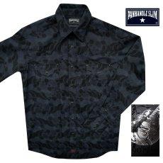画像1: パンハンドルスリム ウエスタンシャツ ブラック(長袖)/Panhandle Slim Long Sleeve Western Shirt (1)