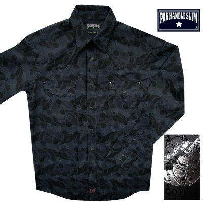 画像1: パンハンドルスリム ウエスタンシャツ ブラック(長袖)/Panhandle Slim Long Sleeve Western Shirt
