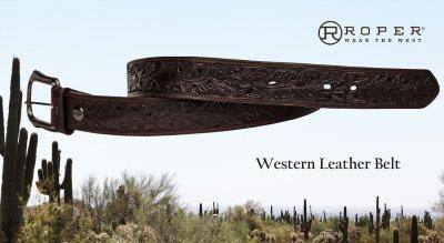画像3: ローパー ウエスタン レザー ベルト(ダークブラウン)/Roper Western Leather Belt(Dark Brown)