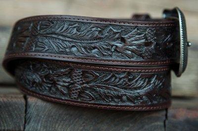 画像2: ローパー ウエスタン レザー ベルト(ダークブラウン)/Roper Western Leather Belt(Dark Brown)