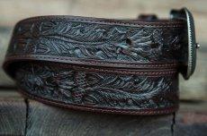 画像2: ローパー ウエスタン レザー ベルト(ダークブラウン)/Roper Western Leather Belt(Dark Brown) (2)