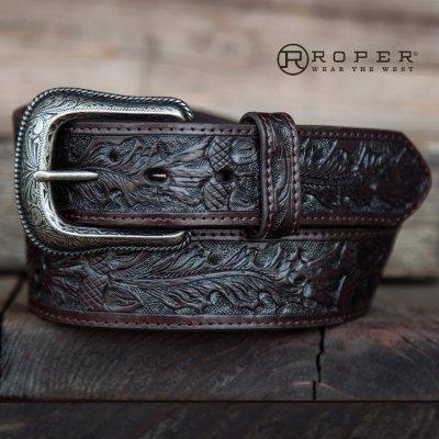 画像1: ローパー ウエスタン レザー ベルト(ダークブラウン)/Roper Western Leather Belt(Dark Brown)