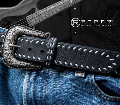 画像3: ローパー ウエスタン レザーベルト(ブラック)/Roper Western Leather Belt(Black)