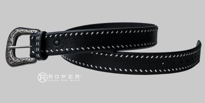 画像2: ローパー ウエスタン レザーベルト(ブラック)/Roper Western Leather Belt(Black)