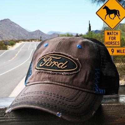 画像1: フォード 刺繍 ロゴ メッシュ キャップ(ブラウン)/Ford  Mesh Cap