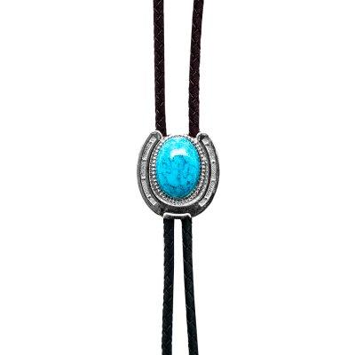 画像1: ウエスタン ボロタイ ホースシュー・ターコイズ/Western Bolo Tie(Horseshoe/Turquoise)