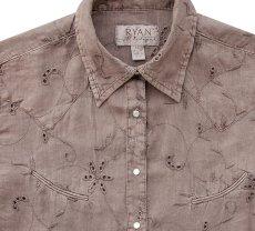 画像2: ライアン マイケル フローラル刺繍・アイレット ウエスタン シャツ(ライトブラウン・長袖)/Ryan Michael Long Sleeve Western Shirt(Women's)  (2)