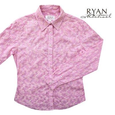 画像1: ライアン マイケル フローラル刺繍 ウエスタン シャツ(ピンク・長袖)/Ryan Michael Long Sleeve Western Shirt(Women's)