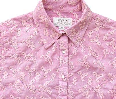 画像2: ライアン マイケル フローラル刺繍 ウエスタン シャツ(ピンク・長袖)/Ryan Michael Long Sleeve Western Shirt(Women's)