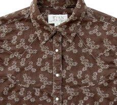 画像2: ライアン マイケル フローラル刺繍 ウエスタン シャツ(ブラウン・長袖)XS/Ryan Michael Long Sleeve Western Shirt(Women's)  (2)