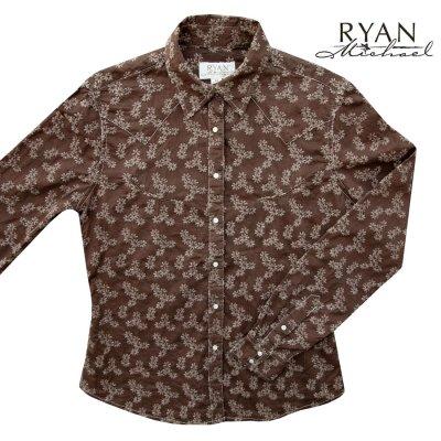 画像1: ライアン マイケル フローラル刺繍 ウエスタン シャツ(ブラウン・長袖)XS/Ryan Michael Long Sleeve Western Shirt(Women's)