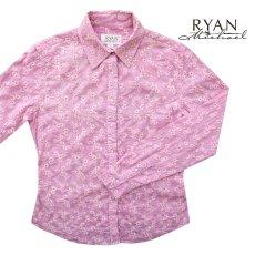 画像1: ライアン マイケル フローラル刺繍 ウエスタン シャツ(ピンク・長袖)/Ryan Michael Long Sleeve Western Shirt(Women's)  (1)