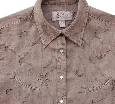 画像2: ライアン マイケル フローラル刺繍・アイレット ウエスタン シャツ(ライトブラウン・長袖)/Ryan Michael Long Sleeve Western Shirt(Women's)